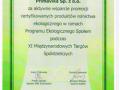 Wyróżnienie za aktywne wsparcie promocji certyfikowanych produktów ekologicznych podczas XI Międzynarodowych Targów Spółdzielczych